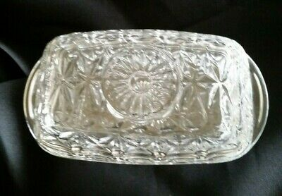 Vintage Clear Cut Glass French Butter Dish with Lid
