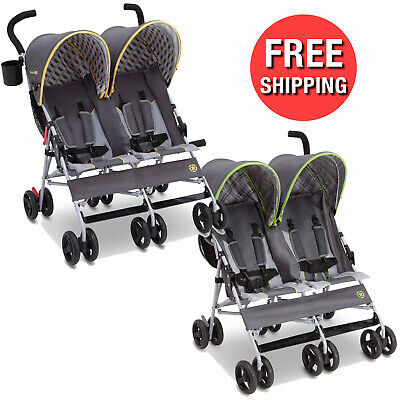 Twin Double Seat Stroller Children Baby Toddler Safety Harness Belt w/ Sun Visor