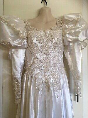 Vintage Retro 1980's 80's Wedding Dress With Very Long Removable Train Size 14