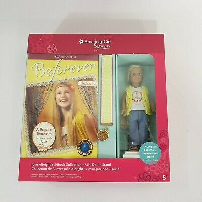 American Girl Beforever Julie Albright 3 Book Set W/Mini Doll & Stand NEW