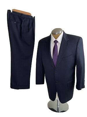 Joseph Abboud Mens 2 Piece Suit Navy Blue Wool Classic Flt 40S Pants 34Wx27L