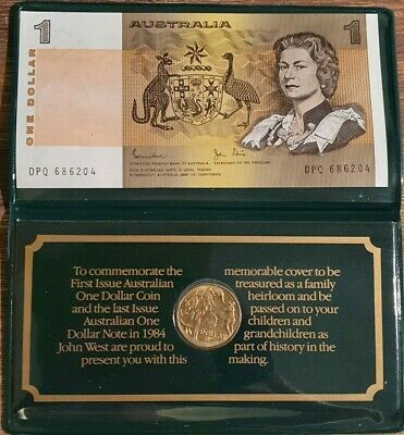 AU - COMMEMORATIVE COVER with the 1st issue $1 coin and last issue $1 note