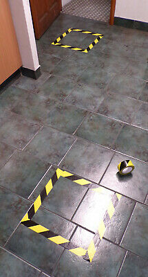 Social distance marking tape: black & yellow for queues, waiting areas