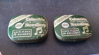 2 x vintage gramaphone needle tins and contents duragold columbia