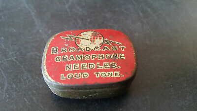 rare vintage gramaphone needle tin and contents broadcast