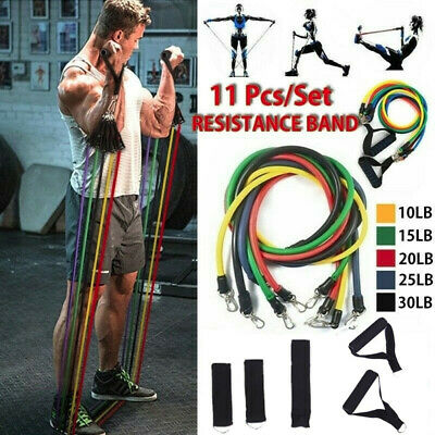 11pcs Resistance Bands Set Exercise Fitness Tube Workout Bands Strength Training