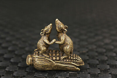 rare Chinese old bronze mouse statue table tea tray decoration collection gift