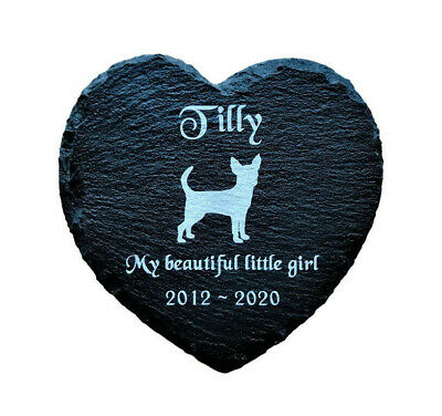 Personalised Engraved Slate Heart Pet Memorial Grave Marker Plaque Dog Chihuahua