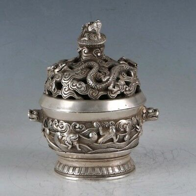 Chinese Tibet silver Dragon Incense Burner Made During The Da Ming Xuande