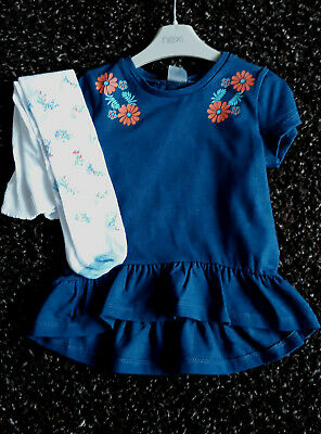 Next Baby Girls Navy Tunic Top  & White Floral Tights Age 18-24 Months BNWT