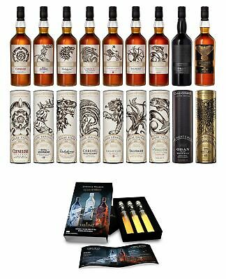 Game Of Thrones - All 9 Bottles & Miniature Tasting Pack Whisky 9 x 70cl + 3 x 5