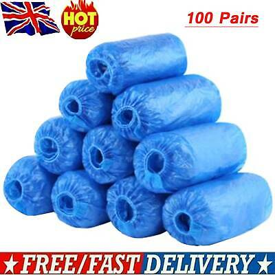 100X Disposable Shoe Cover Overshoes Anti Slip Plastic Cleaning Boot Safety UK
