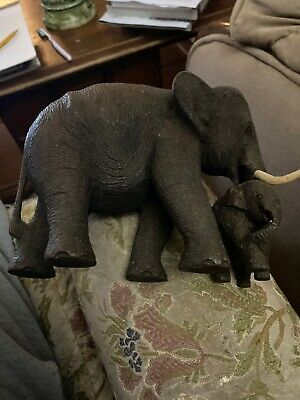 "Vintage Hand Carved Solid Teak Wood ""Elephant & Calf"" Sculpture With Tusks"