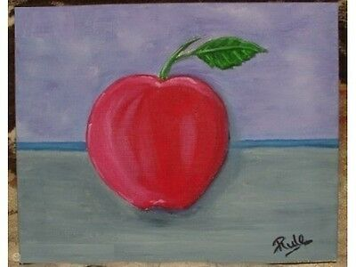 LARGE RED APPLE - Hand painted original work oil painting.