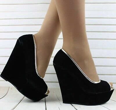Womens Black Slip On Court Pumps High Wedge Heels Office Work Prom Shoes Sizes
