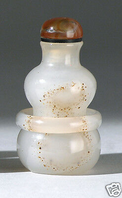 S015 Estate Chinese well-carved agate snuff bottle 19th/20th Century. 6.9 CM