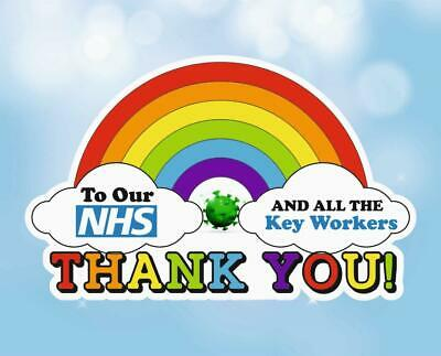 Rainbow Window Sticker Thank You NHS Shop & Home A4 Size