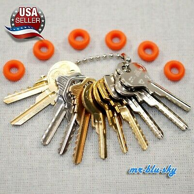 Cut Key Set of 11 (Residential) with 6 Rubber Rings, Lockout, Locksmith Key Sets