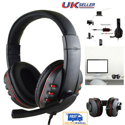 3.5mm Gaming Headset Headphones with Chat Mic For PC Laptop PS4 Slim Xbox one