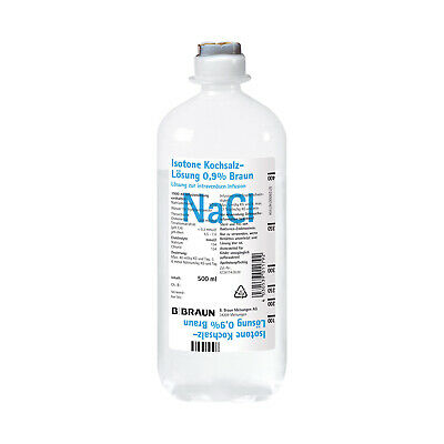 Sterile Saline Solution NaCl 0.9% Infusion Injection Water 500ml Nose Eye