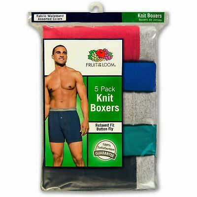 Fruit of The Loom Men's Plush Assorted Knit Boxers Super Soft Comfort 5 Pack XL