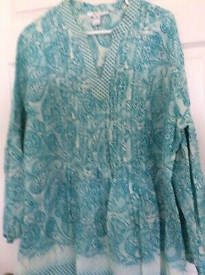 Style & Co Womens Floral Blue Top Size XL Long Bell Sleeve Pullover Top