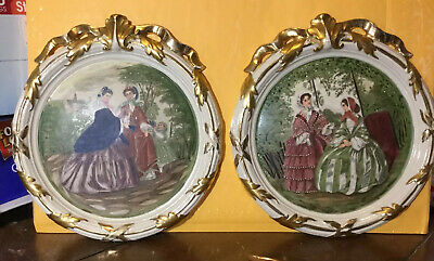 Vintage Victorian Plaster Wall Plaques Gold Trim Hand Painted Antique SET 9745