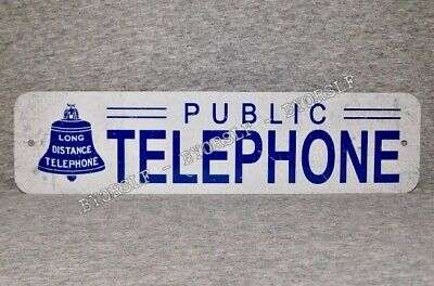 Metal Sign TELEPHONE public pay coin vintage replica phone booth prop white blue