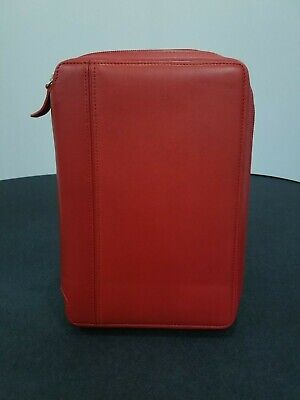 Compact Franklin Covey Red Leather Zipper Binder | 1'' Rings