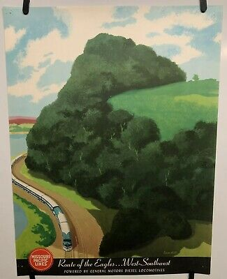 1940s Vintage Style Railroad Travel Poster See Boulder Dam 20x30
