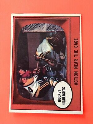 Action Near The Cage 1961-62 Topps Hockey Card #21
