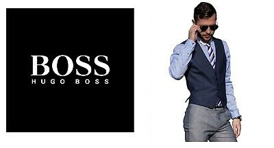 New Hugo Boss men blue suit designer smart vest wool waistcoat 40R Large £129