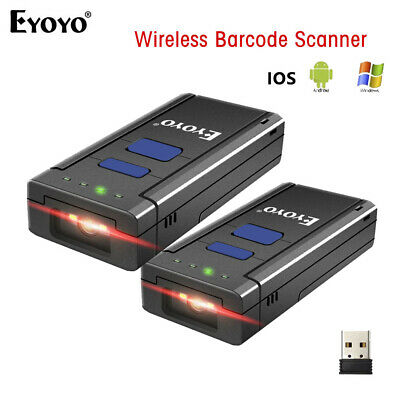 2 Set 2.4GHz Wireless Bluetooth Barcode Scanner for Mac Android iOS Phones Wins