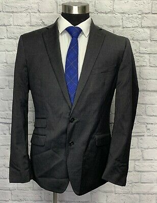 $425 Calvin Klein Mens Gray Extreme Slim Fit Wool Suit Jacket Sport Coat 44R