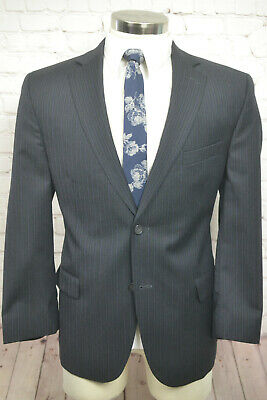 Jack Victor Mens Gray Pinstripe Wool Flat Front 2 Piece Suit SIZE 44S 37Wx29L