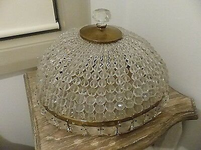 Vintage Large Crystal Beaded Light Shade - Shabby Chic - Bohemian