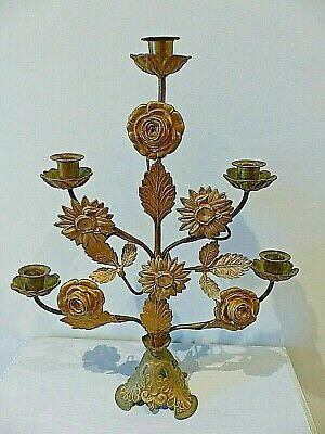 Antique French Floral Church Altar Candelabra