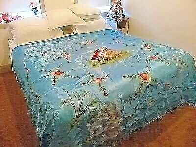 Vintage  Hand Painted Italian Blue Damasco Bed Cover Or Bedspread
