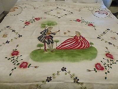 Vintage  White Hand Painted Italian Damasco Bed Cover Or Bedspread