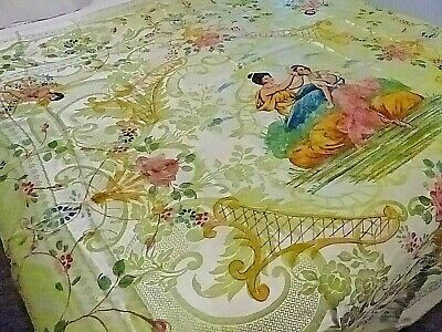 Vintage  Hand Painted Italian Damasco Bed Cover Or Bedspread
