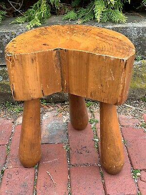Vintage Three Legged Wooden Milking Stool Farm Tool