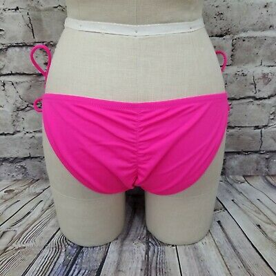 Victorias Secret Size M Hot Pink Cheeky String Side Tie Mini Bikini Bottoms