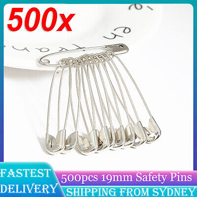 500Pcs Small Tiny Safety Pins Silver 19mm Brass Metal Sewing Craft Mini Pins