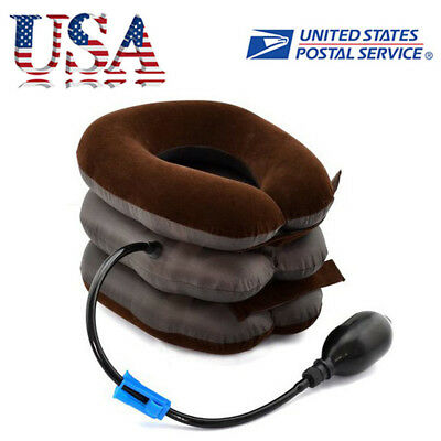 Air Inflatable Pillow Cervical Neck Headache Pain Traction Support Brace US BID