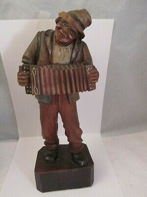 Antique IGermany Hand Carved Black Forest Figure.Hobo / Accordian Squeezebox NR