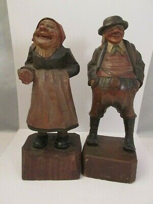 Antique IGermany Hand Carved Black Forest Figure.Man Woman,Husband Wife NR