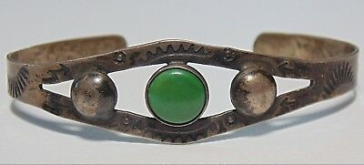 Fred Harvey Era Native American Sterling Silver Green Turquoise Cuff Bracelet
