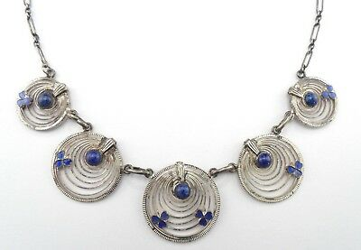 Art Deco Antique Blue Art Glass Blue Enamel CLOVER Silver Tone Collar Necklace