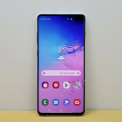 Samsung Galaxy S10+ Plus SM-G975U 128GB Smartphone Prism Blue - Unlocked CRACKED