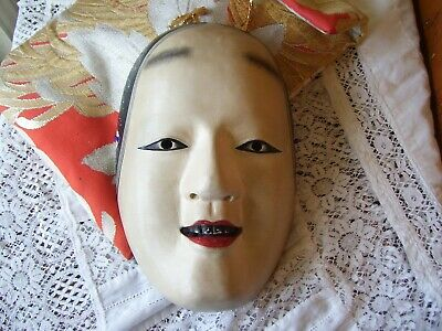 Signed Japanese KO-OMOTE Noh Mask Carved Wood Noh Theatre Woman/Female Mask.